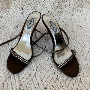 Italina Wrap Strap Mirrored Rhinestone Heels